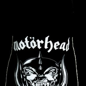 Motörhead-Schürze mit dem klassischen Warpig Logo bzw. mit Snaggletooth B. Motörhead und dem Schriftzug Motörhead.