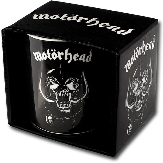 Grosse schwarze Motörhead-Tasse aus Porzellan. Verpackt in stabiler Kartonbox.