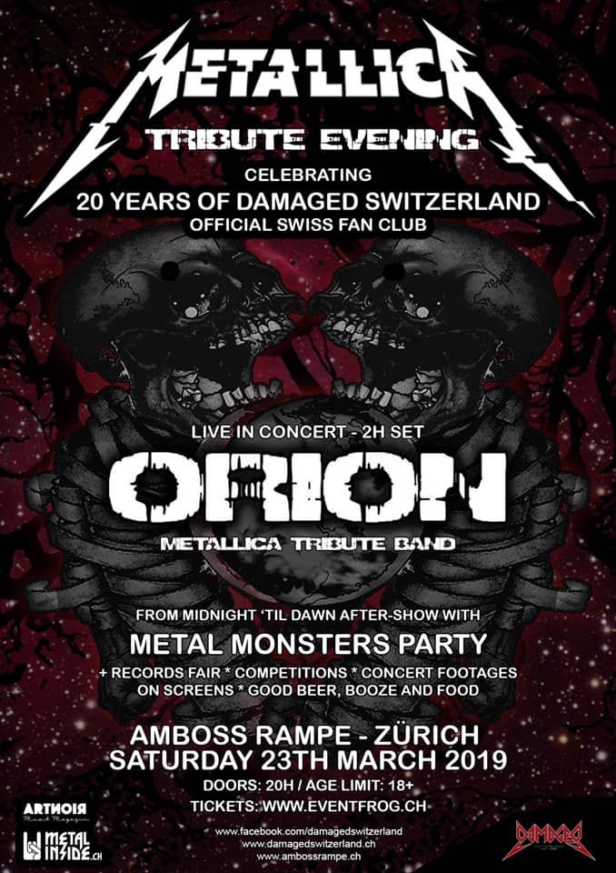 Metal Monsters Party - Metallica Tribute Evening mit Orion ϟ