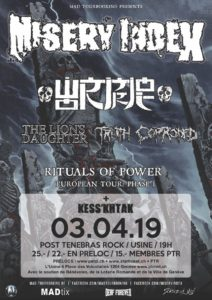 Misery Index - Post Tenebras Rock Usine Genève 2019 (Flyer)