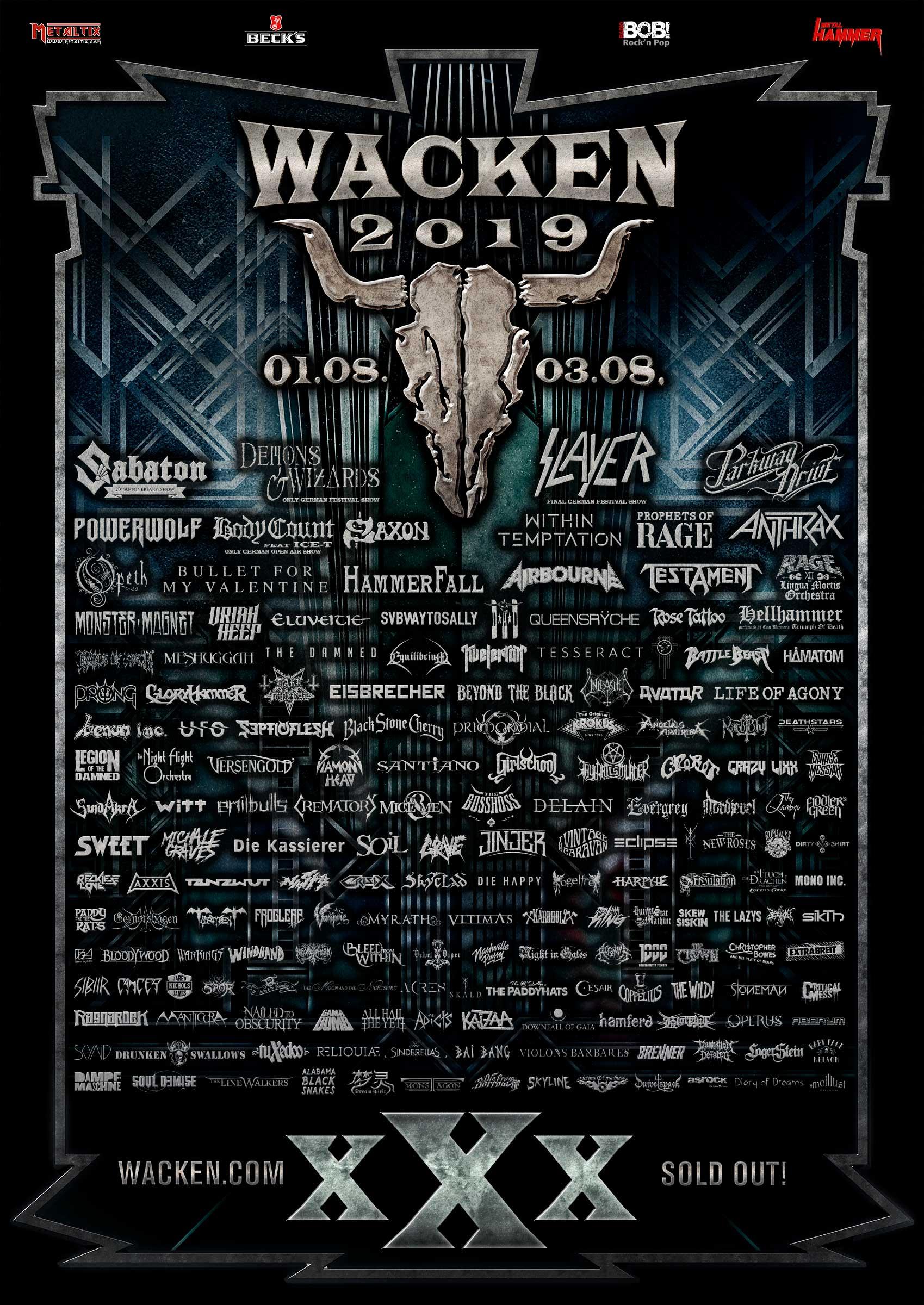 Wacken Open Air 25   Sabaton, Parkway Drive, Slayer, Cradle Of ...