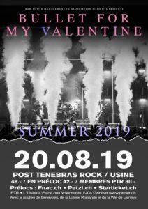 Bullet For My Valentine - Post Tenebras Rock - Usine Genève 2019 (Flyer)