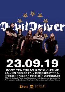 Devildriver - Post Tenebras Rock - Usine Genève 2019 (Flyer)