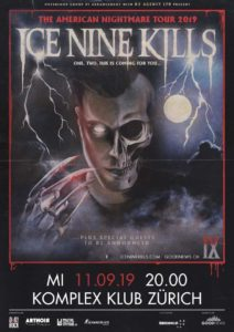Ice Nine Kills - Komplex Klub Zürich 2019 (Plakat)