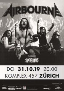 Airbourne - Komplex 457 Zürich 2019 (Plakat)