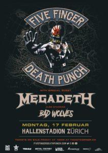 Megadethpunch - Five Finger Death Punch, Megadeth - Hallenstadion Zürich 2019 (Plakat 1.1)