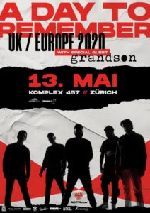 A Day To Remember - Komplex 457 Zürich 2020 (Plakat)
