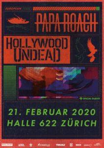 Papa Roach - Halle 622 Zürich 2020 (Plakat)